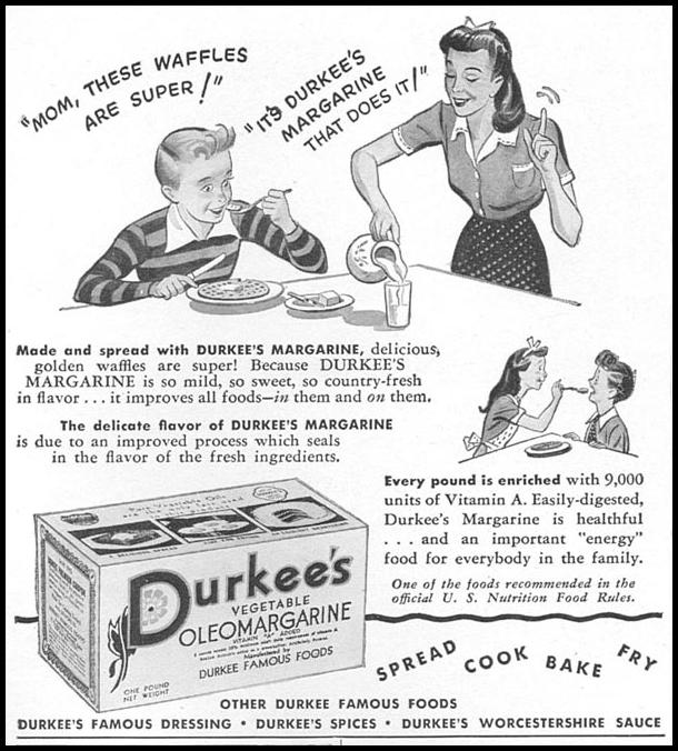 DURKEE'S VEGETABLE OLEOMARGARINE WOMAN'S DAY 04/01/1943 p. 52