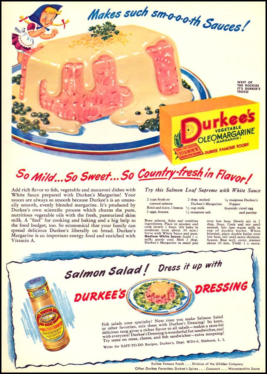 DURKEE'S VEGETABLE OLEOMARGARINE WOMAN'S DAY 04/01/1946 p. 55