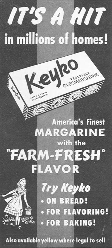 KEYKO VEGETABLE OLEOMARGARINE WOMAN'S DAY 04/01/1949 p. 108