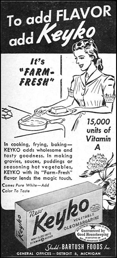 KEYKO VEGETABLE OLEOMARGARINE WOMAN'S DAY 05/01/1946 p. 80