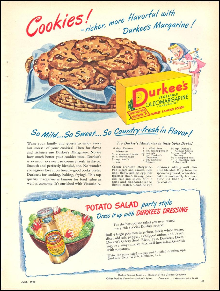 DURKEE'S VEGETABLE OLEOMARGARINE WOMAN'S DAY 06/01/1946 p. 45