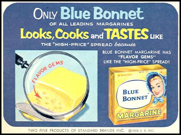 BLUE BONNET MARGARINE WOMAN'S DAY 06/01/1958 p. 18
