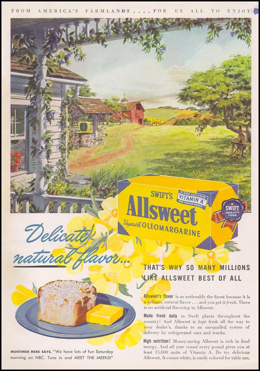 SWIFT'S ALLSWEET VEGETABLE OLEOMARGARINE WOMAN'S DAY 08/01/1948 BACK COVER