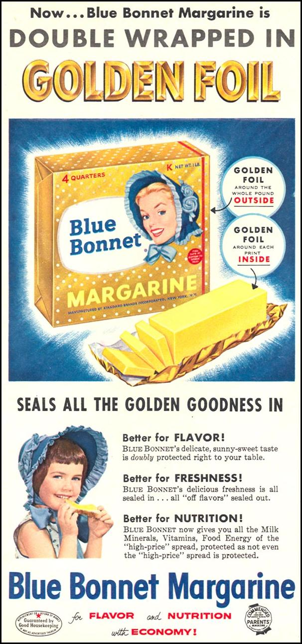 BLUE BONNET MARGARINE WOMAN'S DAY 09/01/1955 p. 54