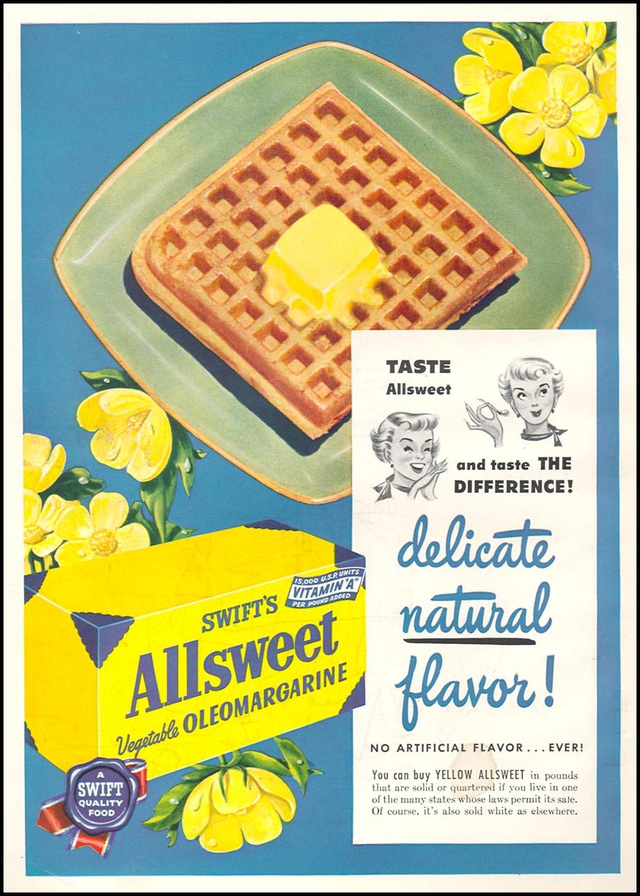 SWIFT'S ALLSWEET VEGETABLE OLEOMARGARINE WOMAN'S DAY 11/01/1949 INSIDE FRONT