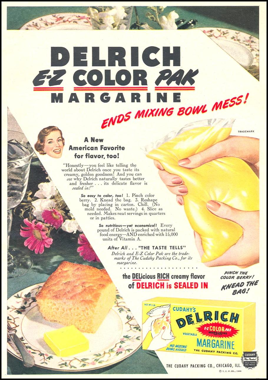 CUDAHY'S DELRICH VEGETABLE MARGARINE WOMAN'S DAY 12/01/1948 p. 57