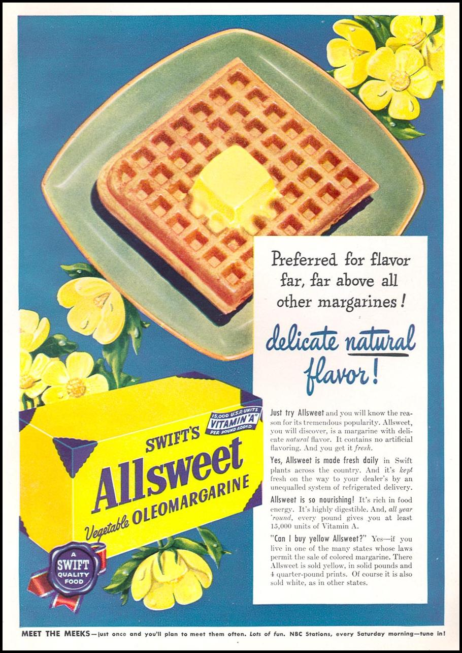 SWIFT'S ALLSWEET VEGETABLE OLEOMARGARINE WOMAN'S DAY 12/01/1949 INSIDE BACK