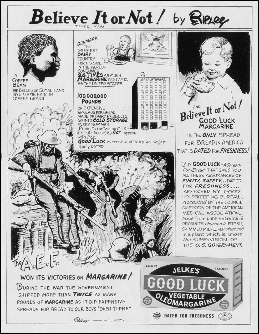 JELKE'S GOOD LUCK VEGETABLE OLEOMARGARINE LIFE 09/27/1937 p. 109