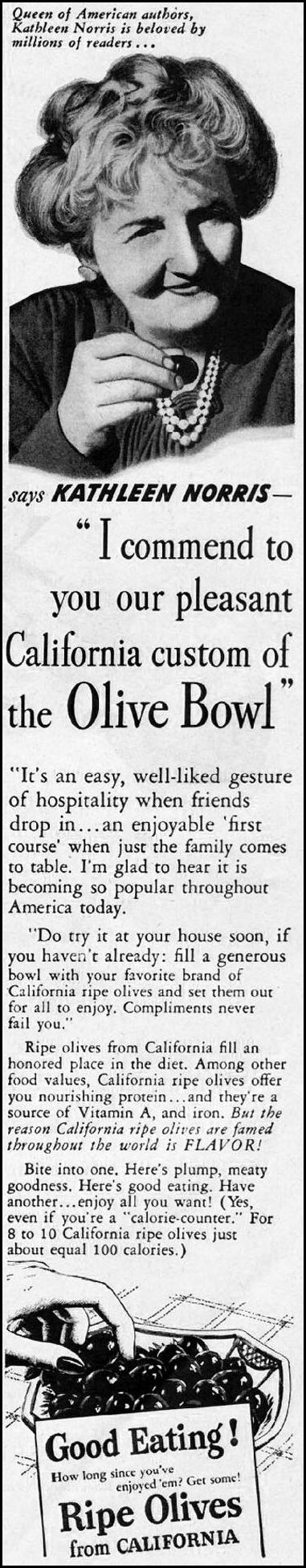 CALIFORNIA RIPE OLIVES LADIES' HOME JOURNAL 07/01/1949 p. 145