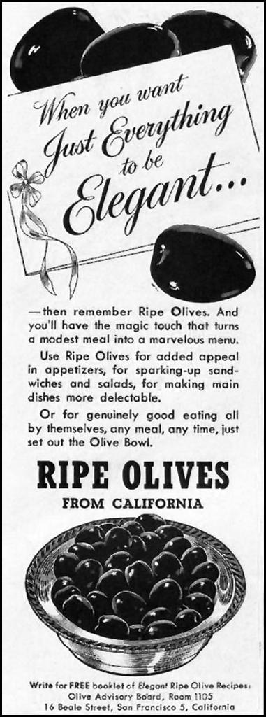 CALIFORNIA RIPE OLIVES LADIES' HOME JOURNAL 11/01/1950 p. 241