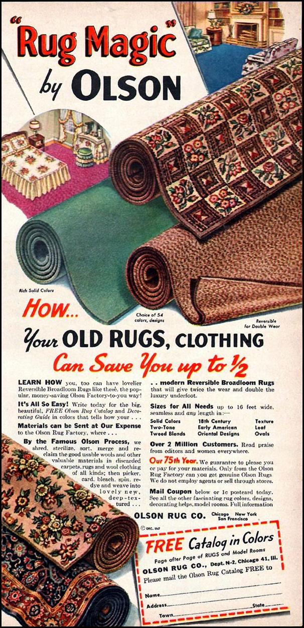 OLSON RUG CO. WOMAN'S DAY 01/01/1949 p. 27