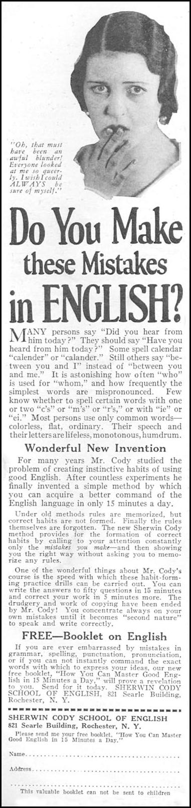 MASTER GOOD ENGLISH IN 15 MINUTES A DAY GOOD HOUSEKEEPING 01/01/1932 p. 140