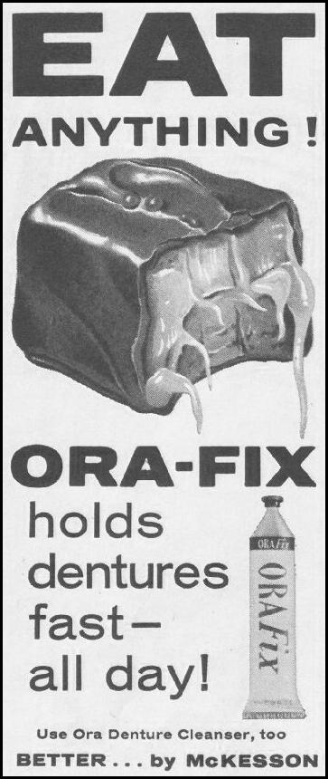 ORA-FIX DENTURE ADHESIVE SATURDAY EVENING POST 06/11/1960 p. 122