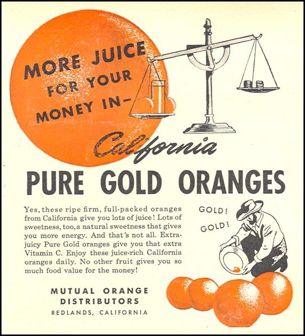 CALIFORNIA PURE GOLD ORANGES WOMAN'S DAY 06/01/1946 p. 55