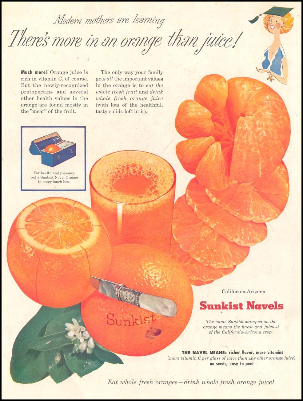 SUNKIST CALIFORNIA-ARIZONA NAVEL ORANGES SATURDAY EVENING POST 04/09/1955 BACK COVER
