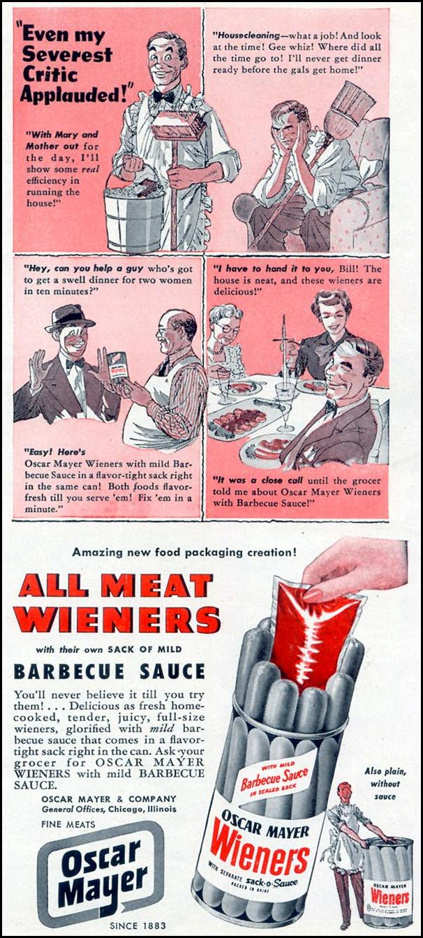 OSCAR MAYER ALL MEAT WIENERS WOMAN'S DAY 05/01/1949 p. 99