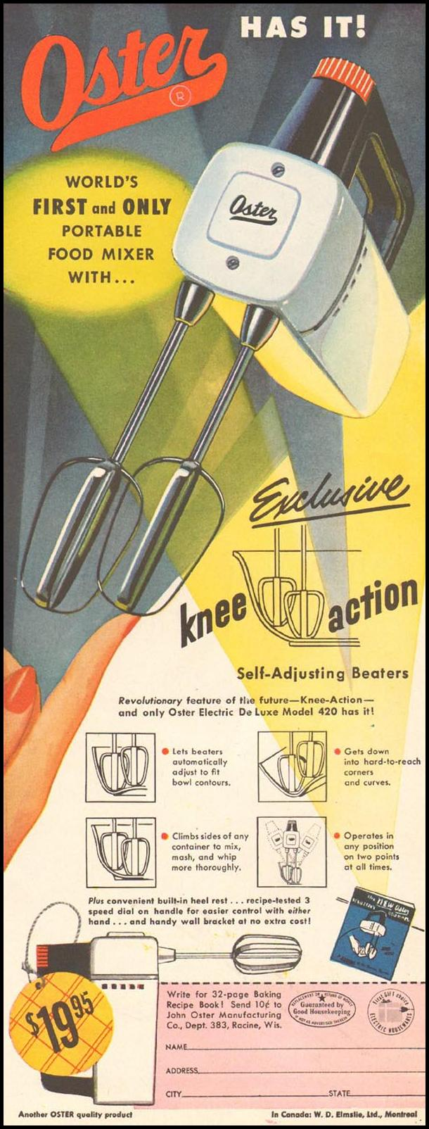 OSTER HAND MIXER LADIES' HOME JOURNAL 03/01/1954 p. 199