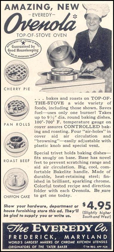 EVEREDY OVENOLA TOP-OF-STOVE OVEN GOOD HOUSEKEEPING 07/01/1949 p. 201