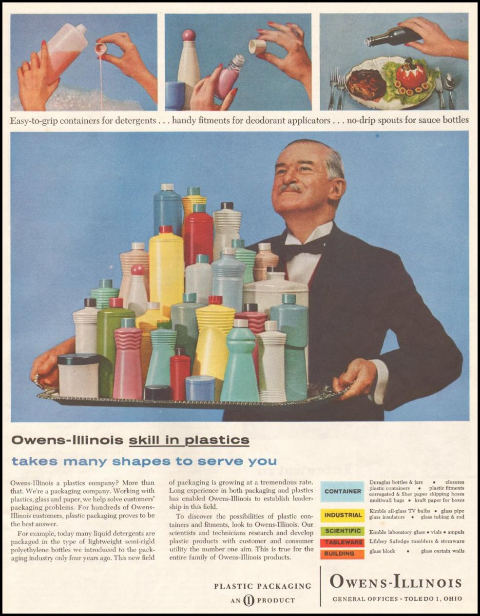 OWENS-ILLINOIS PLASTIC PACKAGING SATURDAY EVENING POST 06/11/1960 p. 109