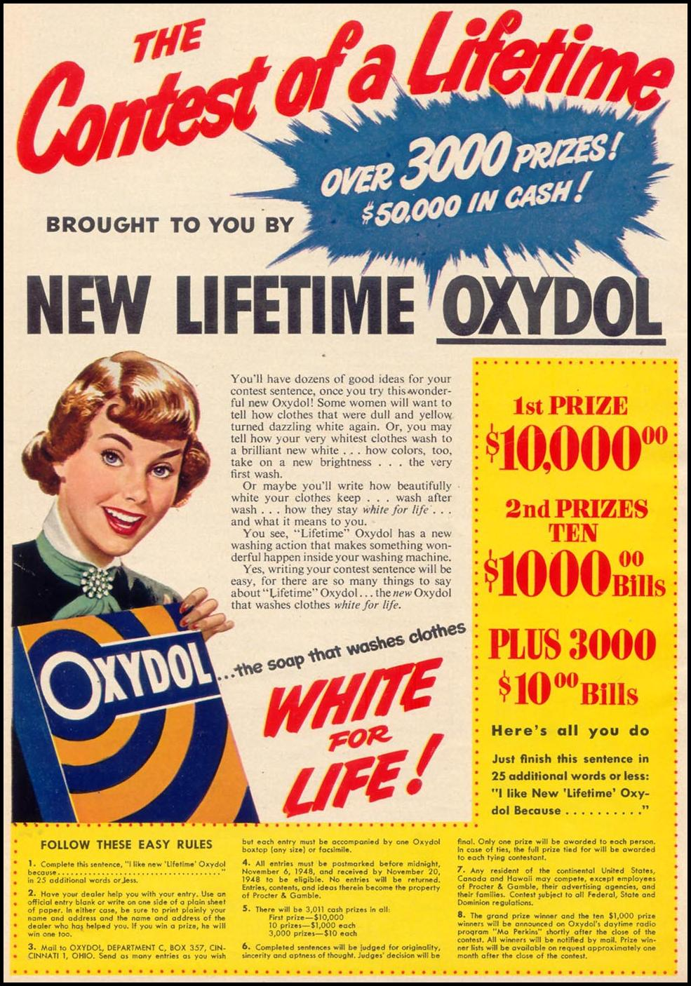 OXYDOL DETERGENT WOMAN'S DAY 10/01/1948 p. 14