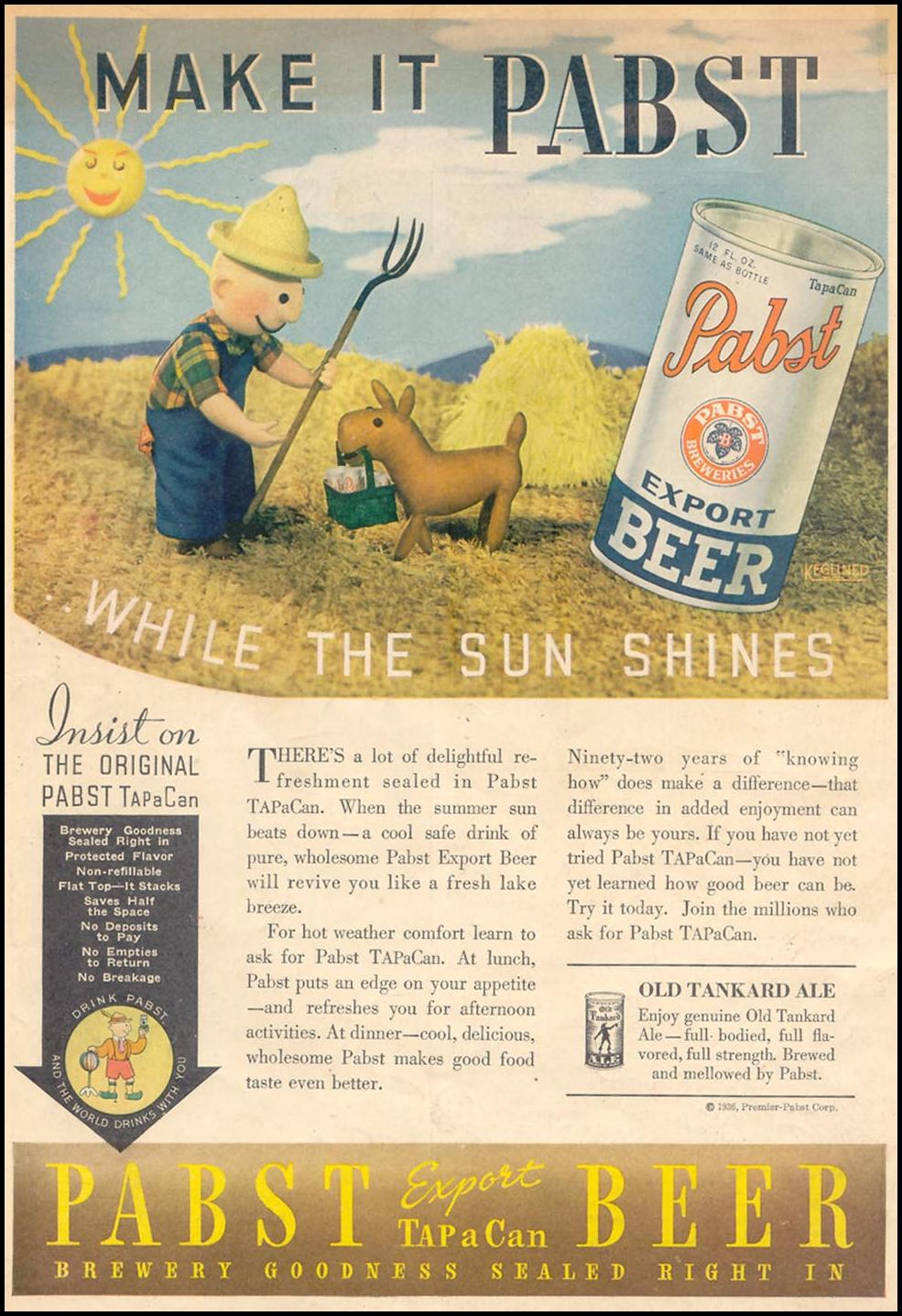 PABST BEER LIBERTY 08/26/1936 BACK COVER