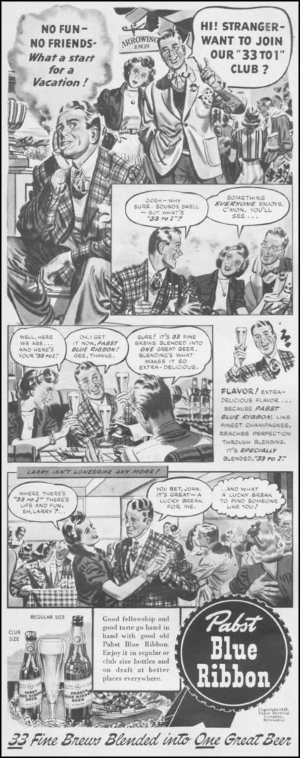 PABST BLUE RIBBON BEER LIFE 06/22/1942 p. 78