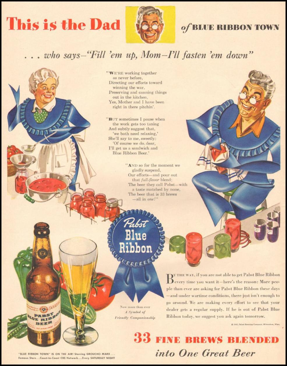 PABST BLUE RIBBON BEER LIFE 08/09/1943