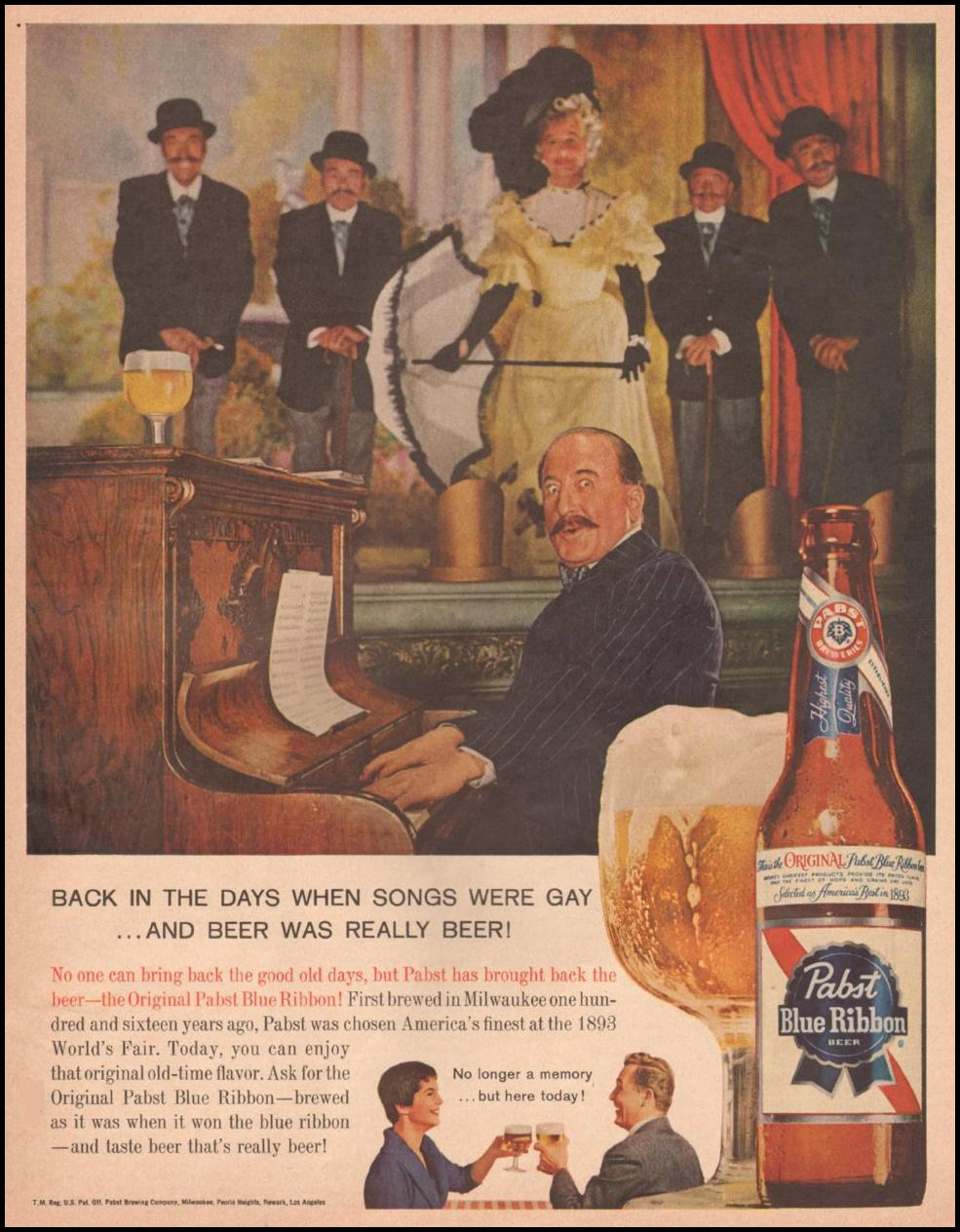 PABST BLUE RIBBON BEER SATURDAY EVENING POST 06/11/1960 p. 133