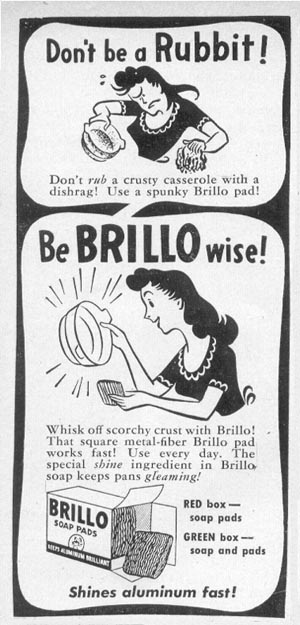 BRILLO SOAP PADS WOMAN'S DAY 05/01/1947 p. 127