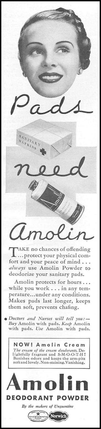 AMOLIN DEODORANT POWDER GOOD HOUSEKEEPING 04/01/1936 p. 211