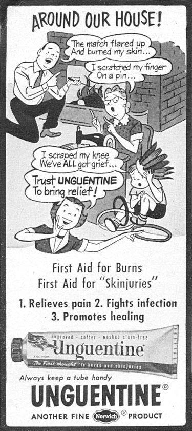 UNGUENTINE FIRST-AID DRESSING WOMAN'S DAY 12/01/1954 p. 126