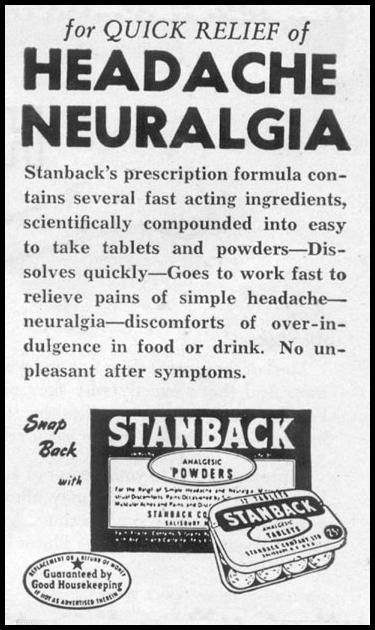 STANBACK ANALGESIC TABLETS AND POWDERS LIFE 07/12/1954 p. 80