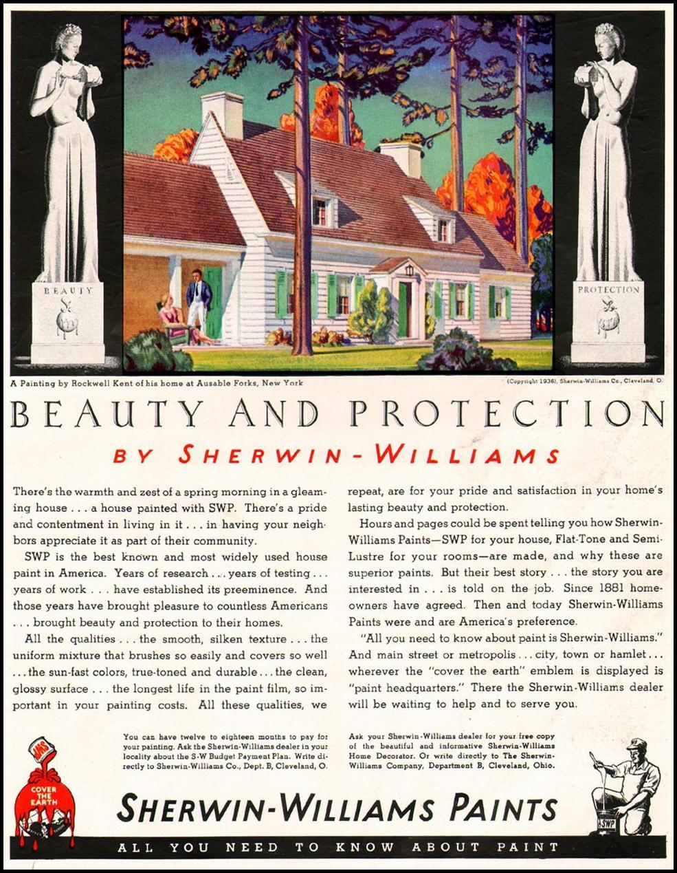 SHERWIN-WILLIAMS PAINTS BETTER HOMES AND GARDENS 05/01/1936 p. 91