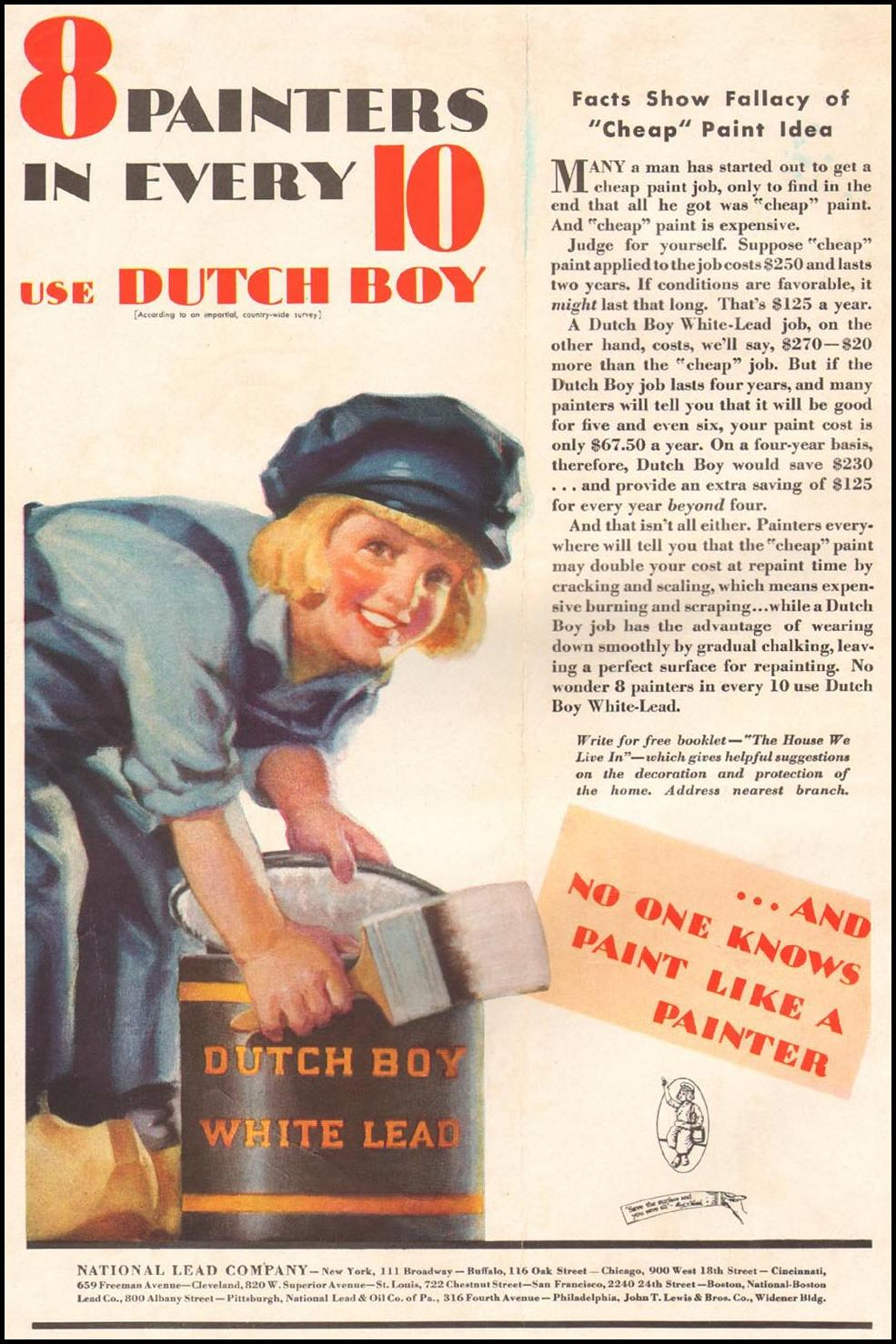 DUTCH BOY HOUSE PAINT BETTER HOMES AND GARDENS 09/01/1931 INSIDE FRONT