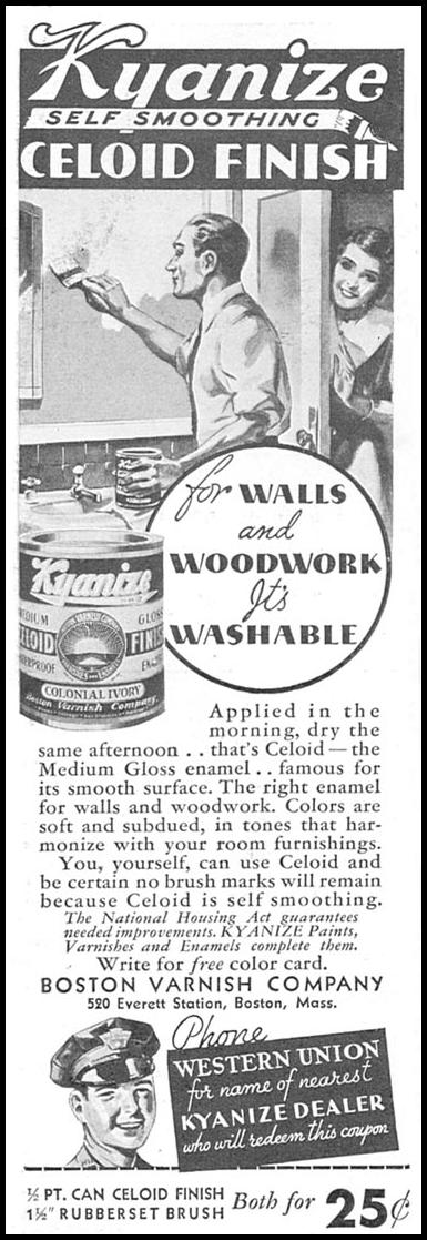 KYANIZE SELF-SMOOTHING CELOID FINISH GOOD HOUSEKEEPING 06/01/1935 p. 216