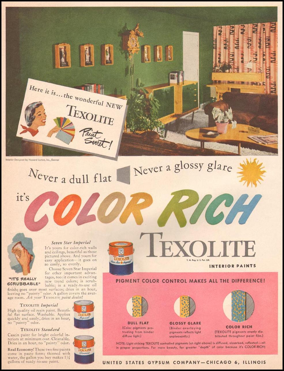 TEXOLITE COLOR RICH INTERIOR PAINTS LIFE 04/30/1951 p. 84