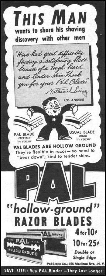 PAL HOLLOW-GROUND RAZOR BLADES LIFE 10/25/1943 p. 122