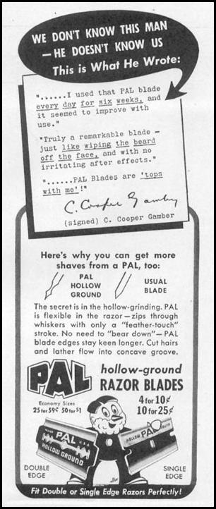 PAL HOLLOW-GROUND RAZOR BLADES LIFE 11/02/1942 p. 100