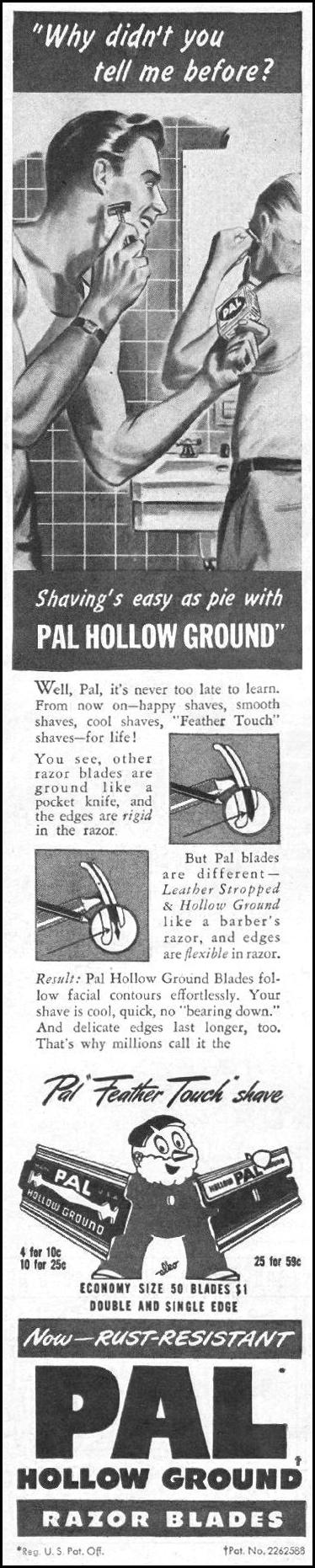 PAL HOLLOW-GROUND RAZOR BLADES LIFE 11/25/1946 p. 132