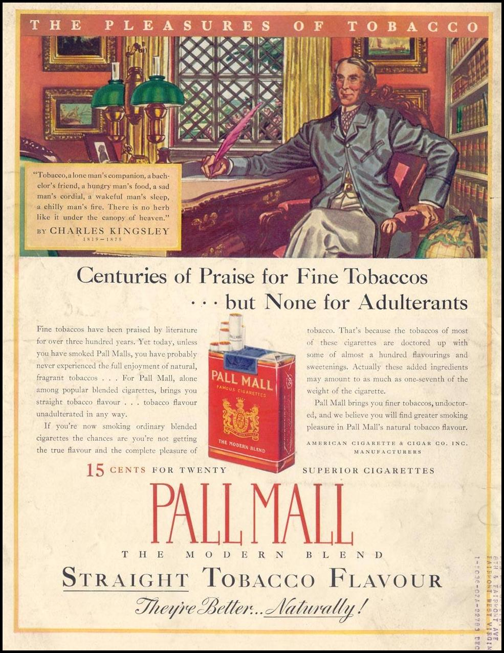 PALL MALL CIGARETTES LIFE 08/02/1937 BACK COVER