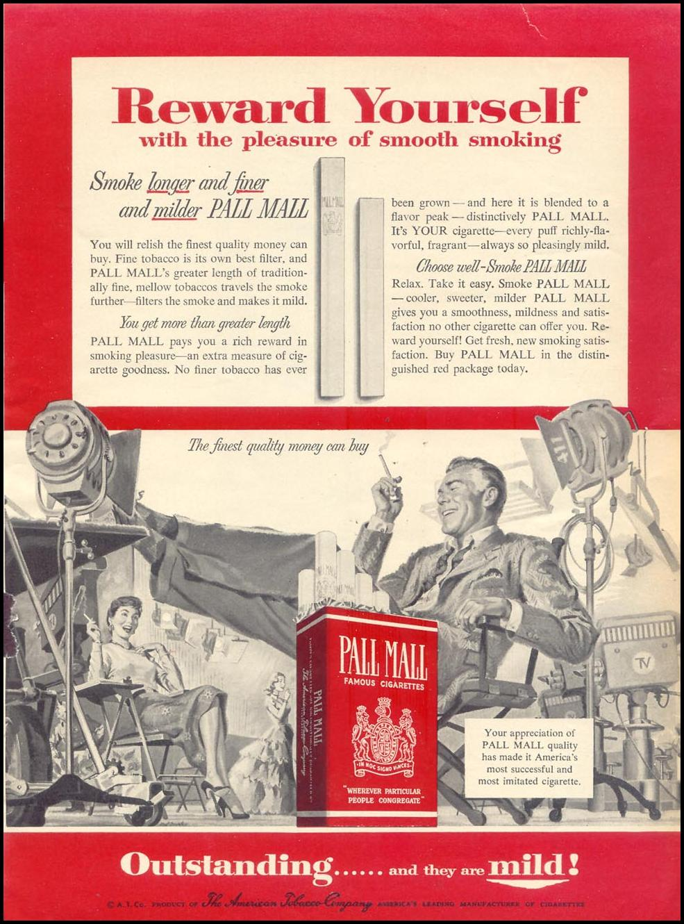 PALL MALL CIGARETTES WOMAN'S DAY 10/01/1954 p. 108