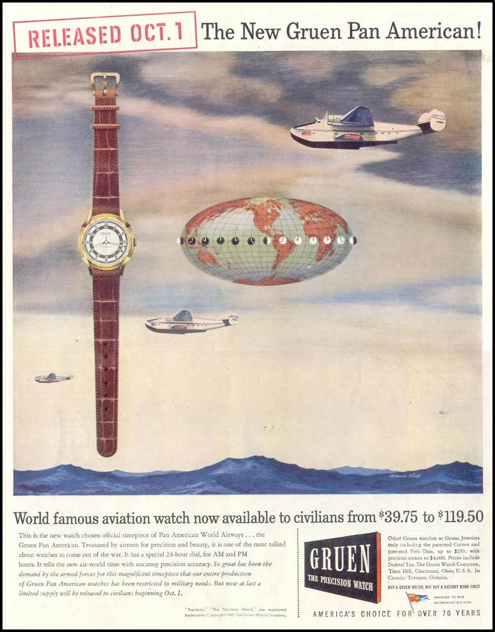 GRUEN PAN AMERICAN WATCHES SATURDAY EVENING POST 10/06/1945