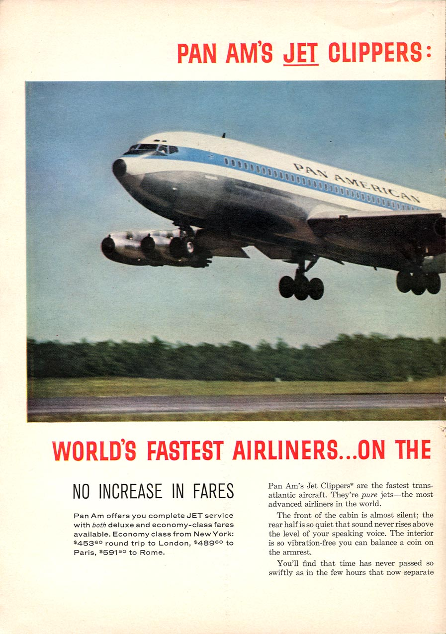 PAN AM JET CLIPPERS SPORTS ILLUSTRATED 01/12/1959 p. 30