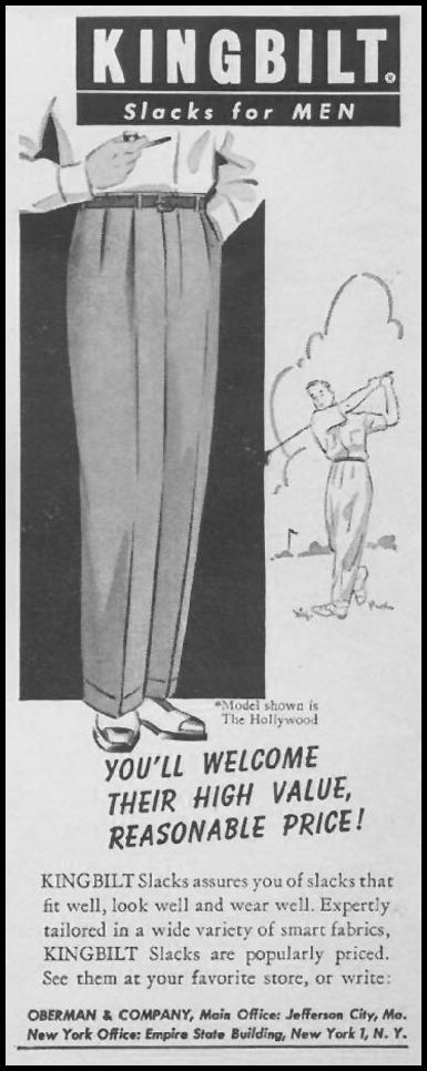 KINGBILT SLACKS FOR MEN LIFE 07/02/1951 p. 32