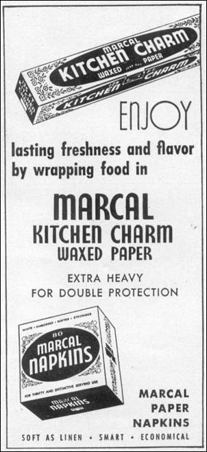 MARCAL KITCHEN CHARM WAXED PAPER WOMAN'S DAY 10/01/1949 p. 129
