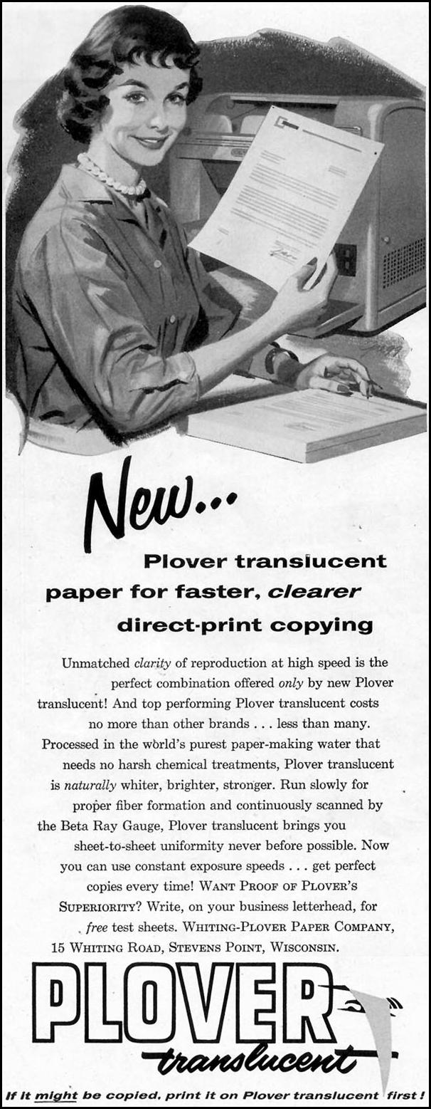 PLOVER TRANSLUCENT PAPER SATURDAY EVENING POST 09/03/1955 p. 12
