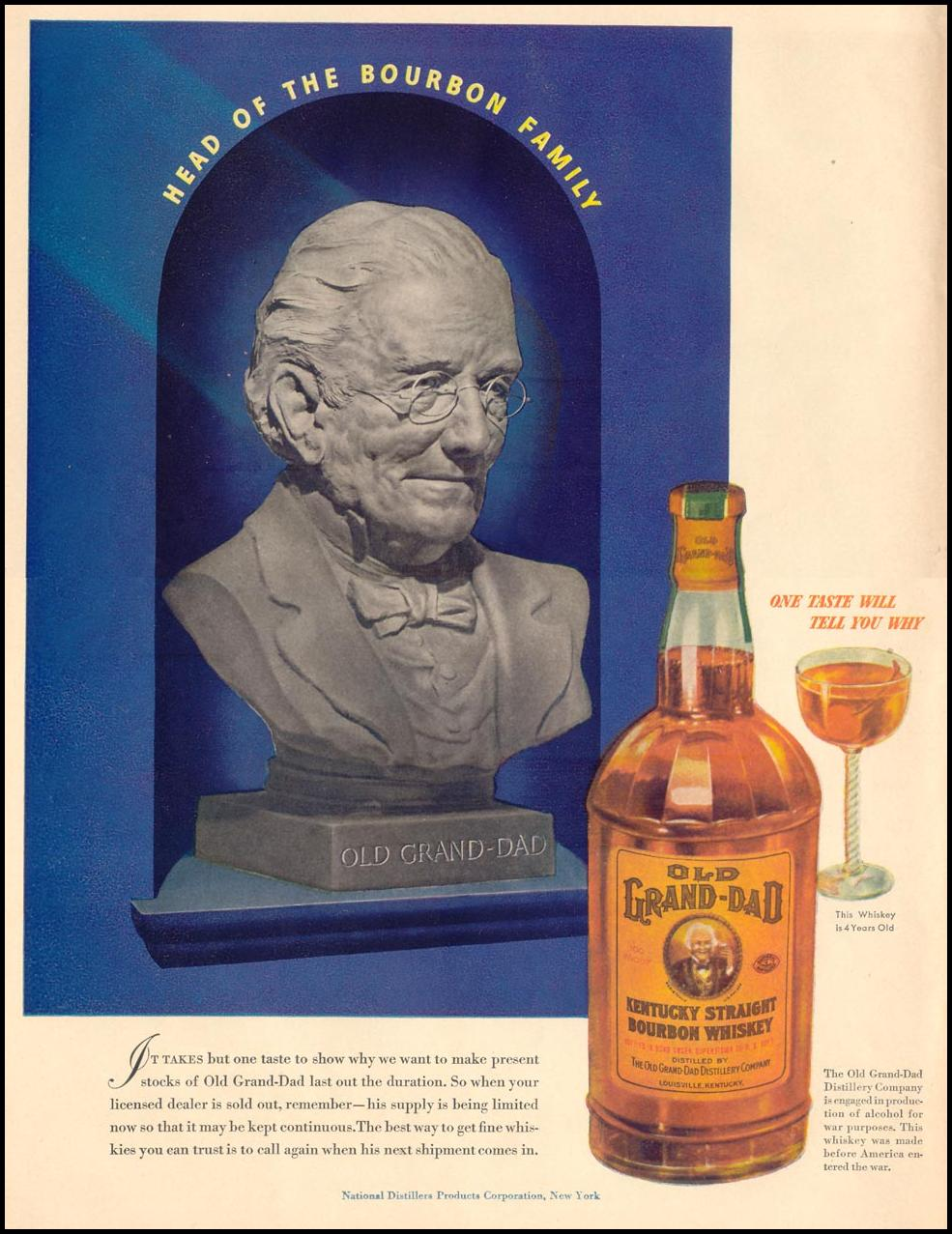 OLD GRAND-DAD KENTUCKY STRAIGHT BOURBON WHISKEY LIFE 11/08/1943