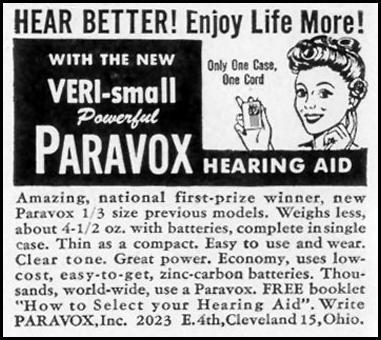 PARAVOX HEARING AID LIFE 11/15/1948 p. 144