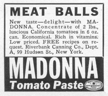 MADONNA TOMATO PASTE WOMAN'S DAY 05/01/1941 p. 72