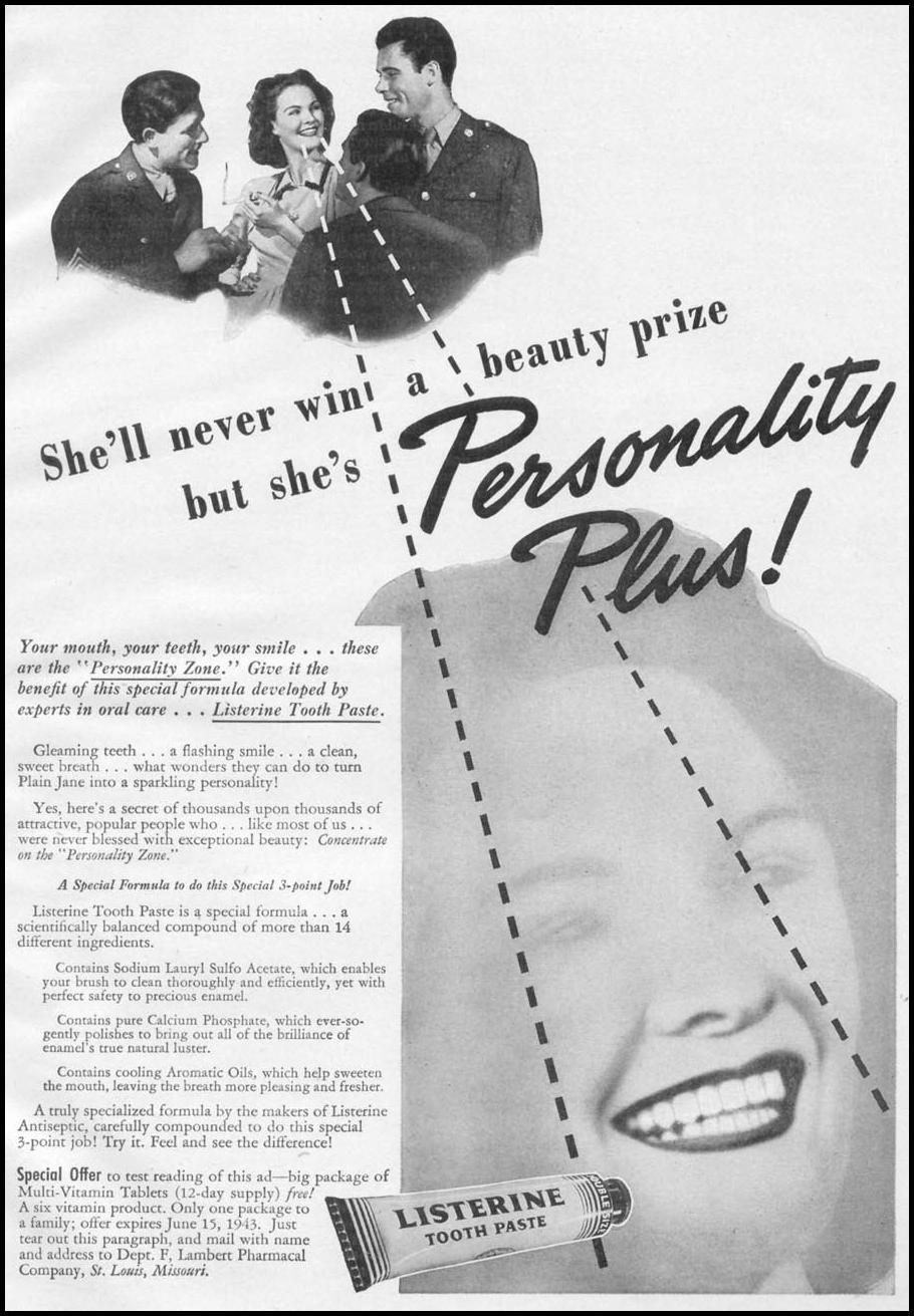 LISTERINE TOOTHPASTE WOMAN'S DAY 05/01/1943 p. 51